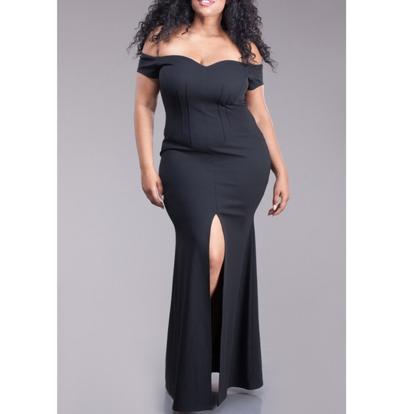 513df8c891 Dresses | Plus Black Off Shoulder Slit Skirt Mermaid Dress | Poshmark